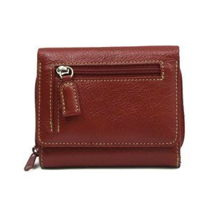Dopp Wallet Womens Trifold Red Leather Credit Card